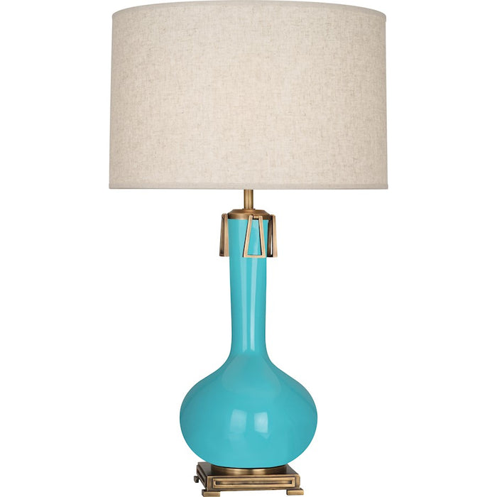 Robert Abbey Athena 1 Light Table Lamp, Egg Blue/Aged Brass - EB992