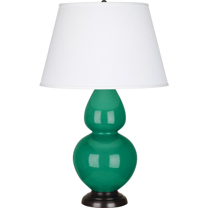 Robert Abbey Double Gourd Table Lamp, Emerald Green/Bronze, Pearl - EG21X