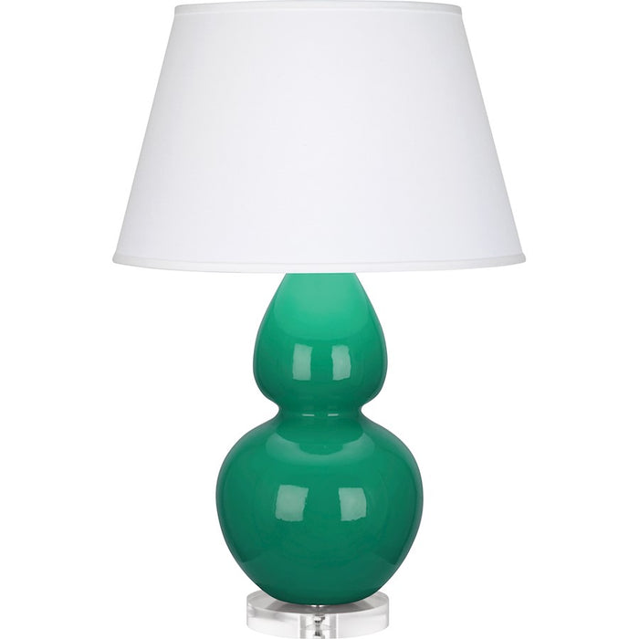 Robert Abbey Double Gourd Table Lamp, Emerald Green/Lucite Base, Pearl - EG23X