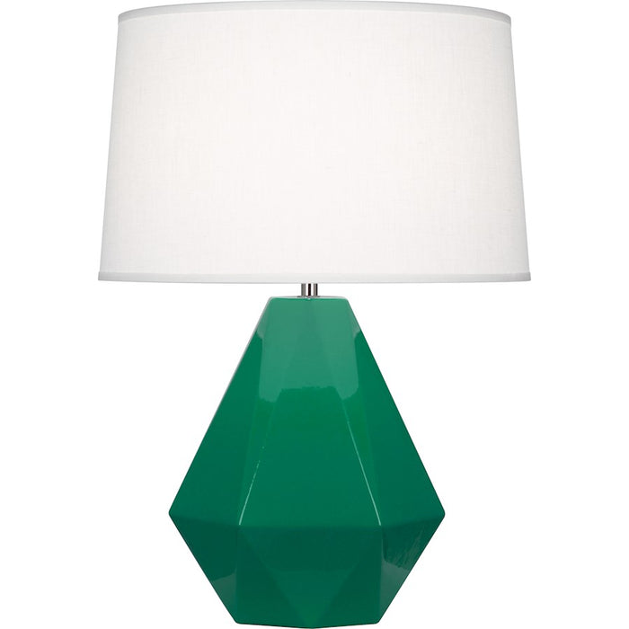 Robert Abbey Delta 1 Light Table Lamp, Emerald Green/Polished Nickel - EG930