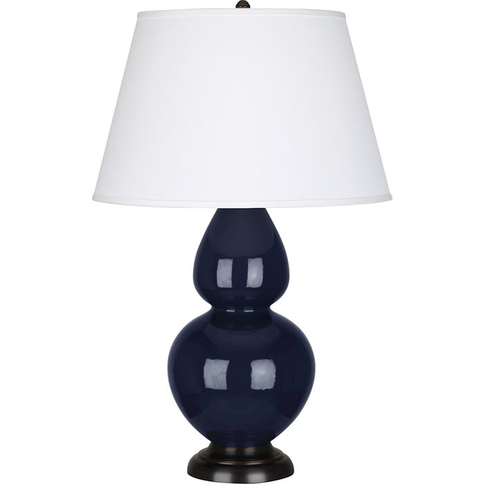 Robert Abbey Double Gourd Table Lamp, Midnight Blue/Bronze, Pearl - MB21X