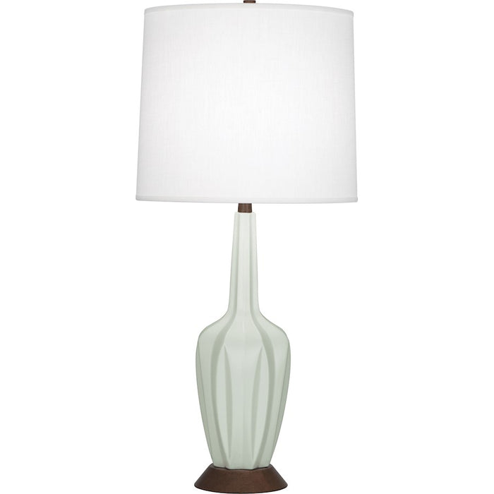 Robert Abbey Cecilia 1 Light Table Lamp, Matte Celadon/Walnut Wood Base - MCL16