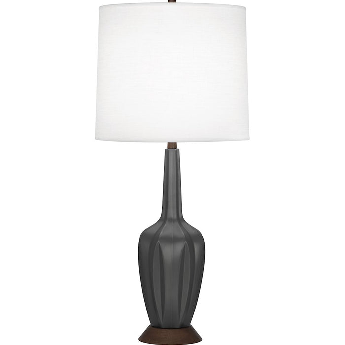 "Robert Abbey Cecilia 1 Light 7"" Table Lamp, Matte Ash/Walnut Wood Base - MCR16"