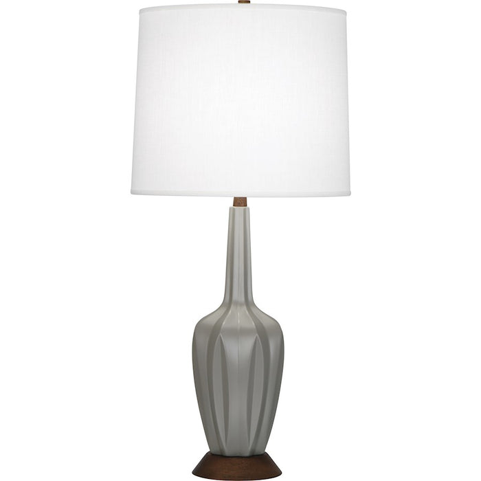 Robert Abbey Cecilia 1 Light Table Lamp, Matte Smoky Taupe/Wood Base - MST16