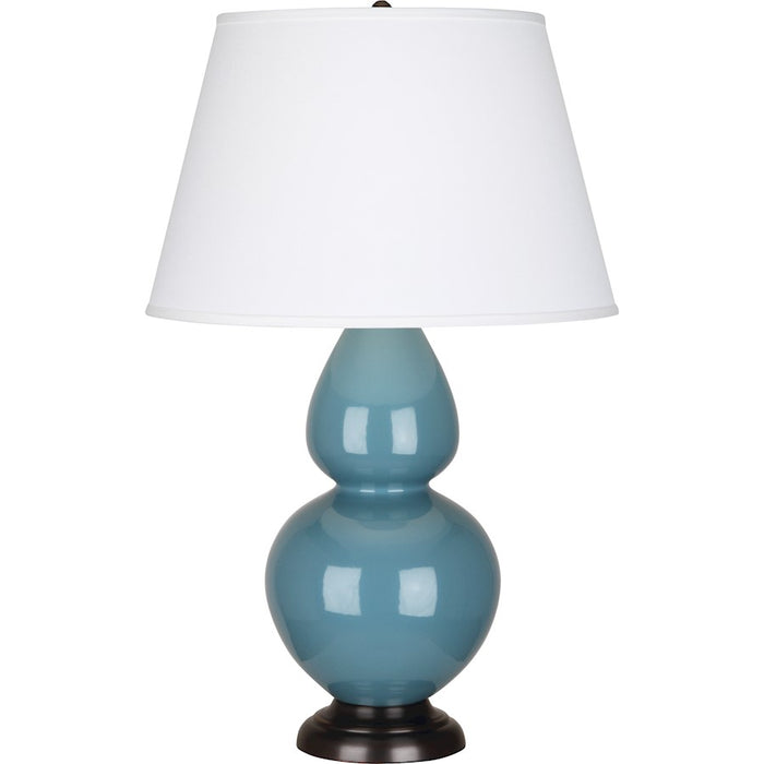 Robert Abbey Double Gourd 1 Light Table Lamp, Steel Blue/Bronze, Pearl - OB21X