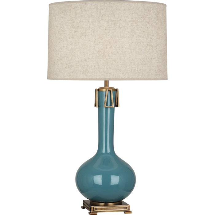 Robert Abbey Athena 1 Light Table Lamp, Steel Blue/Aged Brass - OB992