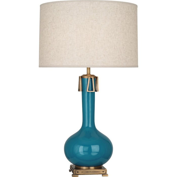 Robert Abbey Athena 1 Light Table Lamp, Peacock/Aged Brass - PC992