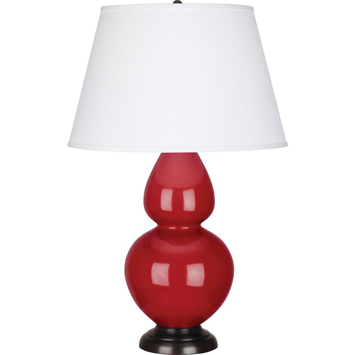 Robert Abbey Double Gourd 1 Light Table Lamp, Ruby Red/Bronze, Pearl - RR21X