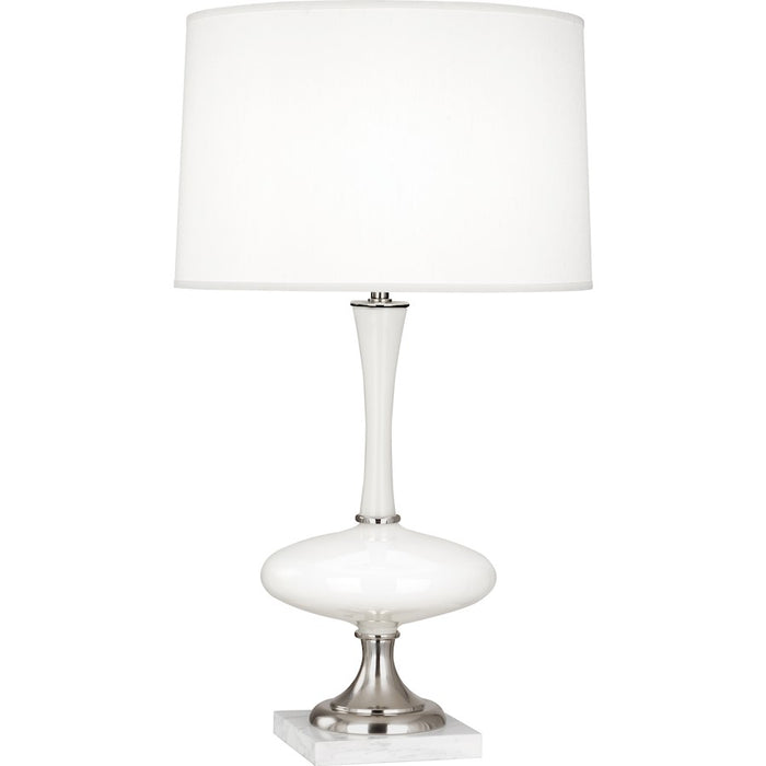 "Robert Abbey Raquel 1 Lt 30"" Table Lamp, White Glass/Silver,White Marble - S480"