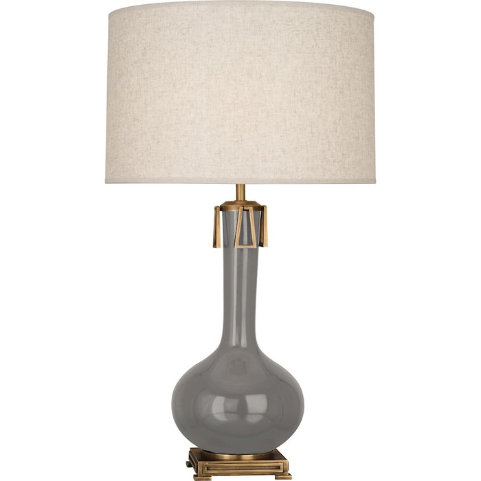 Robert Abbey Athena 1 Light Table Lamp, Smoky Taupe/Aged Brass - ST992