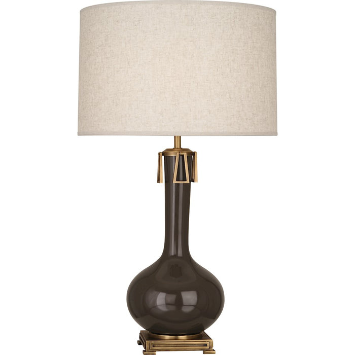 Robert Abbey Athena 1 Light Table Lamp, Brown Tea/Aged Brass - TE992