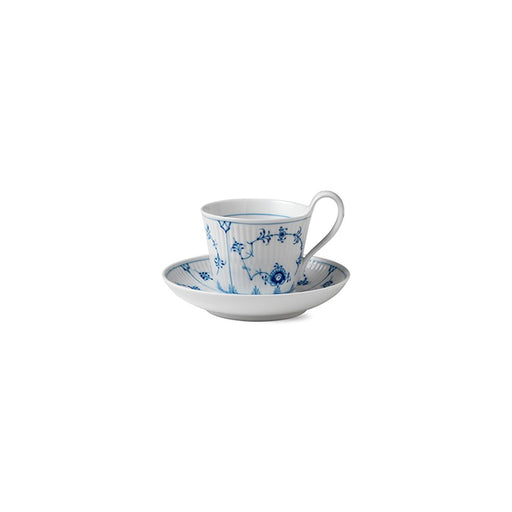 Royal Copenhagen Blue Fluted Pla in High Handle Cup and Saucer