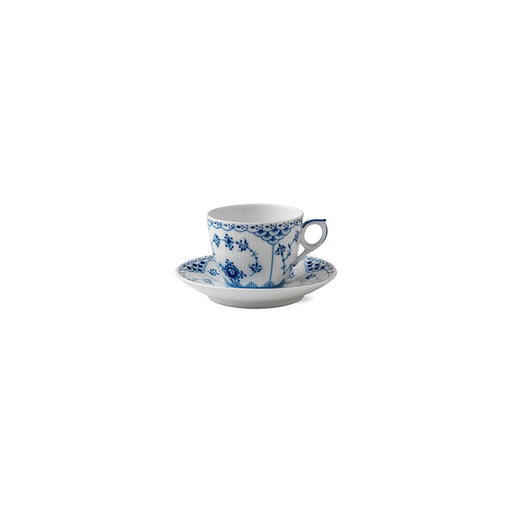 Royal Copenhagen Blue Fluted Half Lace Coffee Cup and Saucer