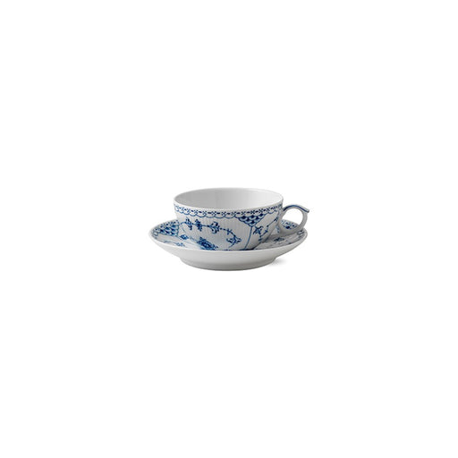 Royal Copenhagen Blue Fluted Half Lace Tea Cup and Saucer