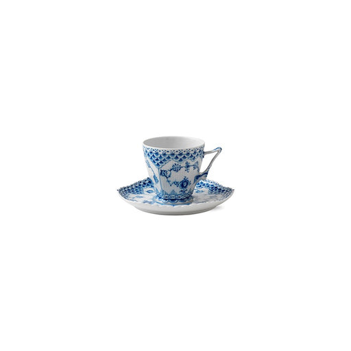 Royal Copenhagen Blue Fluted Full Lace Coffee Cup and Saucer
