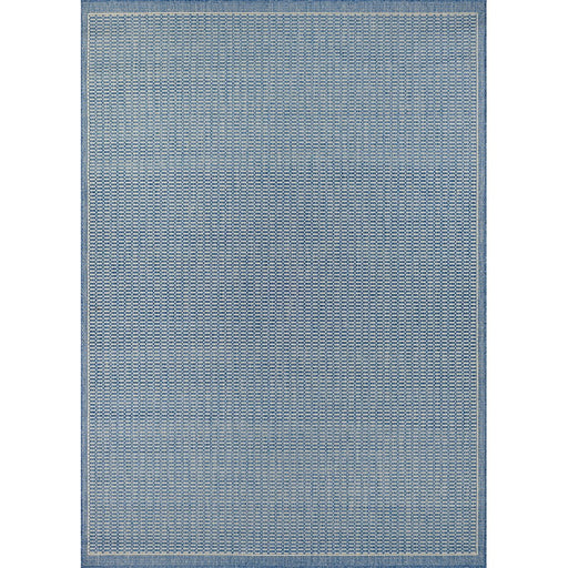 Couristan Recife Saddle Stitch Indoor/Outdoor Rug,  Champagne & Blue