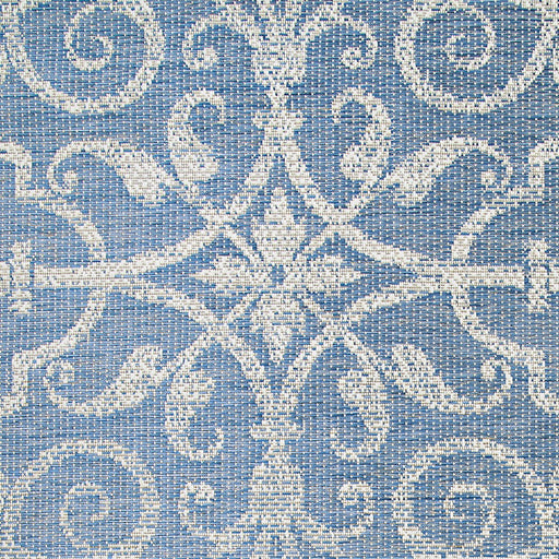 Couristan Monaco Summer Quay Indoor/Outdoor Rug, Ivory & Sapphire