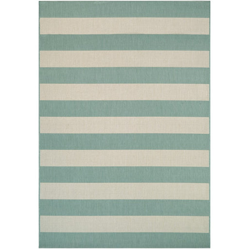 Couristan Afuera Yacht Club Indoor/Outdoor Rug, Sea Mist & Ivory