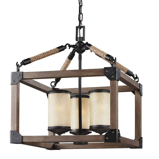 Sea Gull Lighting Dunning Three Light Chandelier, Stardust with Creme Parchment Glass