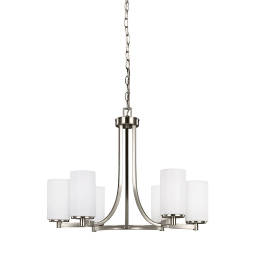 Sea Gull Lighting Hettinger 6 Light Chandelier, Brushed Nickel