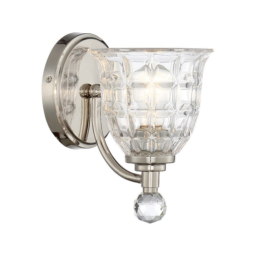 Savoy House Birone 1 Light Sconce, Polished Nickel