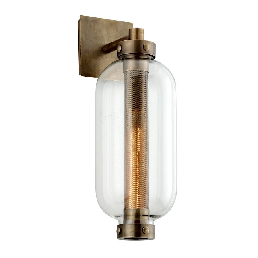 Troy Lighting Atwater 1 Light Outdoor Wall Sconce, Vintage Brass