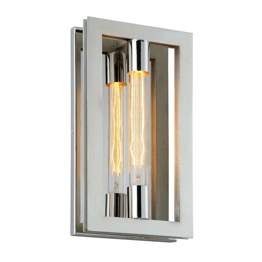 Troy Lighting Enigma 1 Light Sconce, Silver Leaf/Stainless Accents