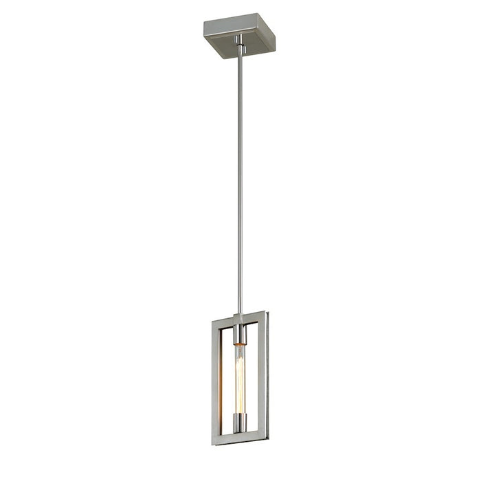 Troy Lighting Enigma 1 Light Mini Pendant, Silver Leaf/Stainless Accents