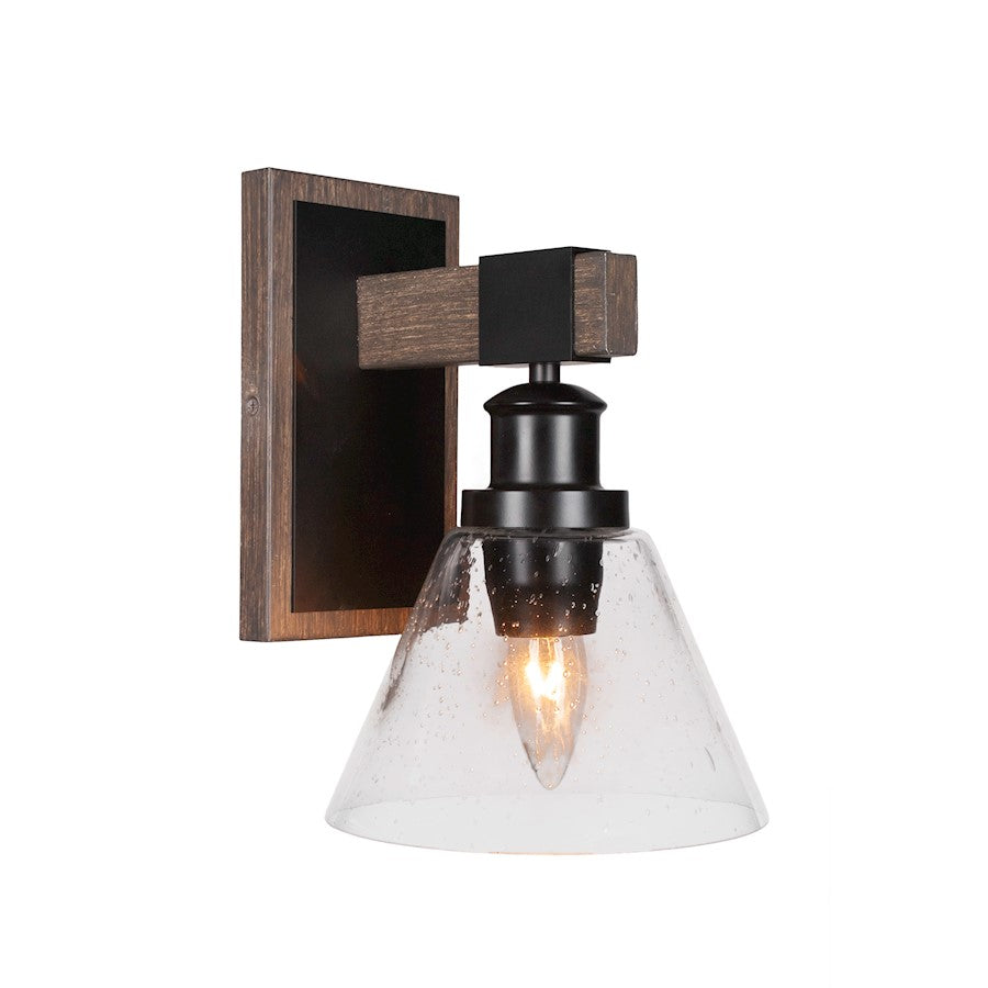 "Toltec Tacoma 1 Light Wall Sconce, Black/Wood/10"" Clear Bubble - 1841-MBDW-302"