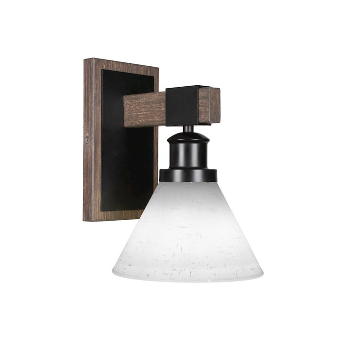 "Toltec Tacoma 1 Light Wall Sconce, Black/Wood/10"" White Muslin - 1841-MBDW-312"