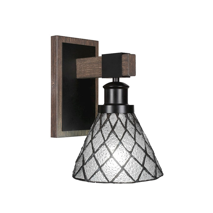 "Toltec Tacoma 1 Light Wall Sconce, Black/Wood/7"" Diamond Ice - 1841-MBDW-9185"