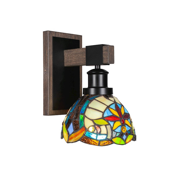 "Toltec Tacoma 1 Light Wall Sconce, Black/Wood/7"" Earth Star Art - 1841-MBDW-9365"