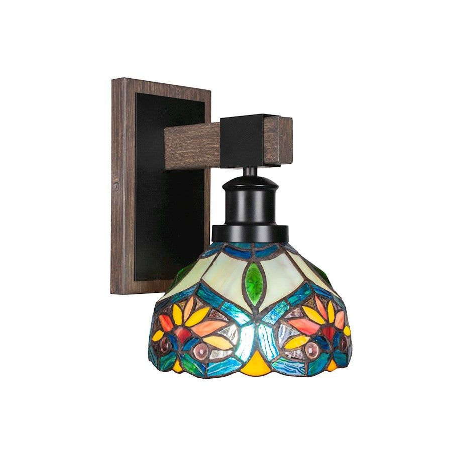 "Toltec Tacoma 1 Light Wall Sconce, Black/Wood/7"" Pavo Art - 1841-MBDW-9425"
