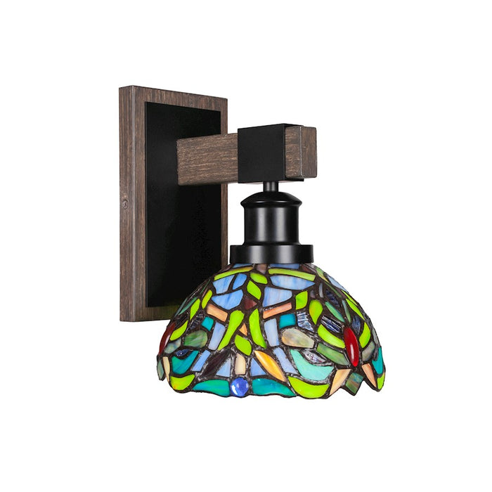 "Toltec Tacoma 1 Light Wall Sconce, Black/Wood/7"" Kaleidoscope - 1841-MBDW-9905"