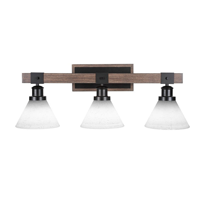 "Toltec Tacoma 3 Light Bath Bar, Black/Wood/11"" White Muslin - 1843-MBDW-312"