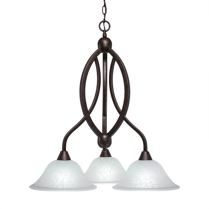 "Toltec Bow 3 Light Chandelier, Bronze, 10"" White Marble Glass"