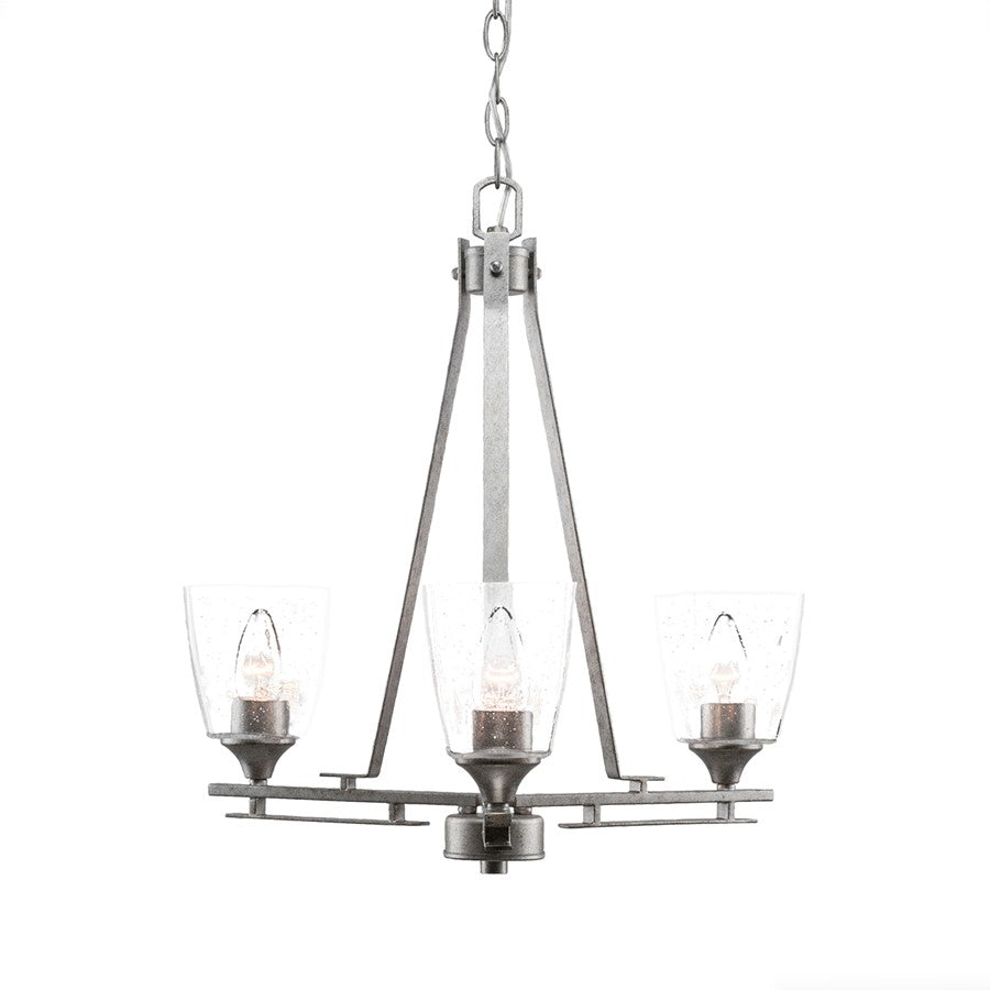 "Toltec Uptowne 3 Light Chandelier, Dark Granite, 4.5"" Clear Bubble"