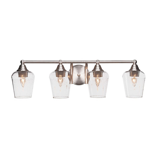"Toltec Paramount 4 Light Bath Bar, Brushed Nickel, 5"" Clear Bubble"
