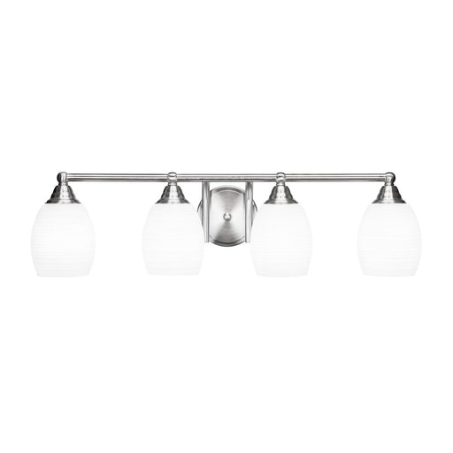 "Toltec Paramount 4 Light Bath Bar, Nickel, 5"" White Matrix"