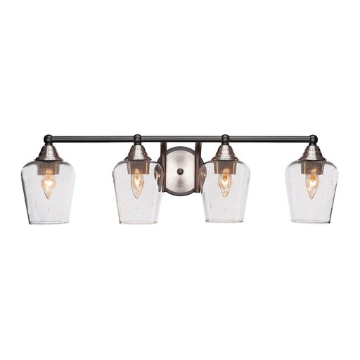 "Toltec Paramount 4 Light Bath Bar, Black/Nickel, 5"" Clear Bubble"