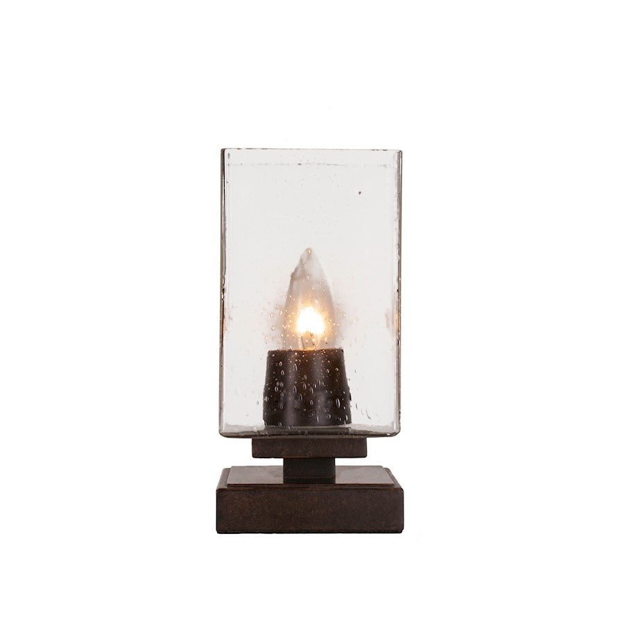 "Toltec Luna Accent Table Lamp, Dark Granite/4"" Square Clear Bubble - 52-DG-530"