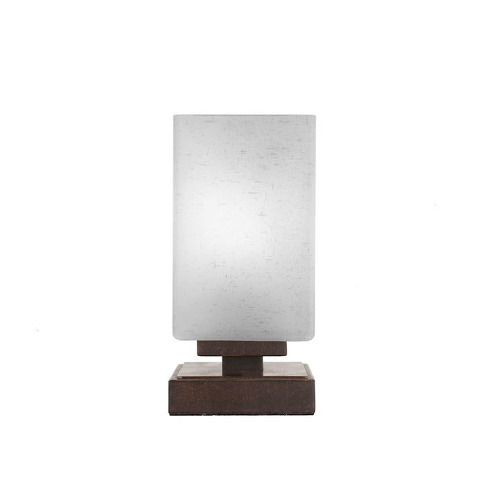 "Toltec Luna Accent Table Lamp, Dark Granite/4"" Square White Muslin - 52-DG-531"