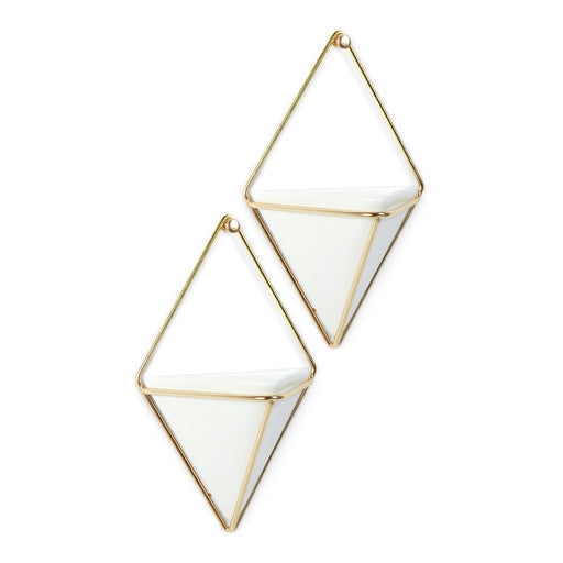 Umbra Trigg Wall Display (2) Sm , White/Brass