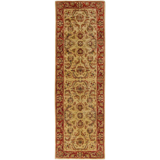 Surya A-111 Ancient Treasures Runner, 2'6' x 8', Olive/Burgundy
