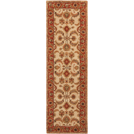 Surya A-160 Ancient Treasures Runner, 2'6' x 8', Khaki/Rust