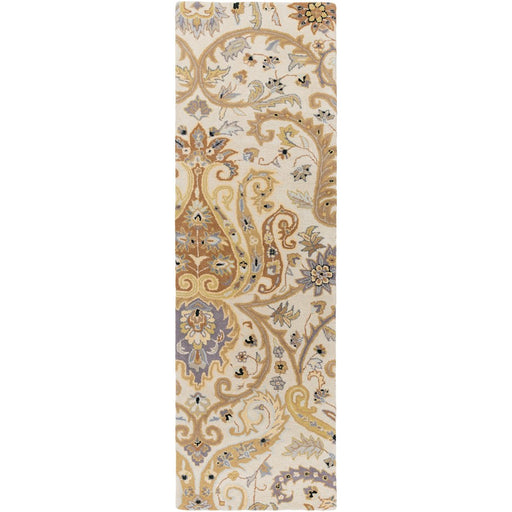 Surya A-165 Ancient Treasures Runner, 2'6' x 8', Light Gray/Moss