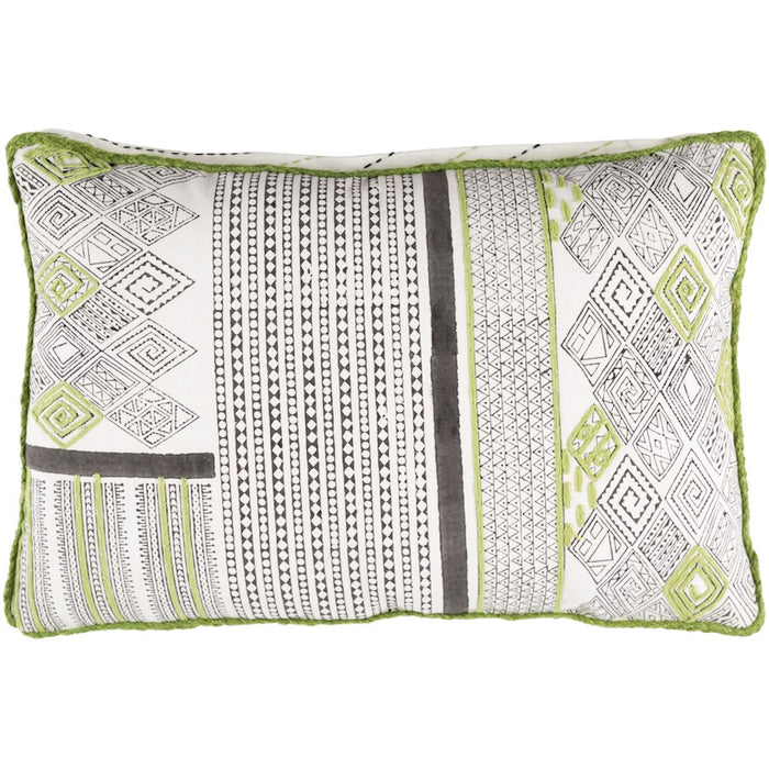 "Aba by Surya Pillow, Lime/Dark Brown/White, 13"" x 19"""