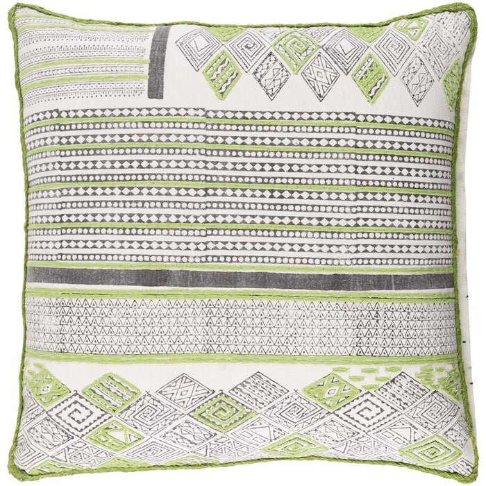 Aba by Surya Pillow, Lime/Dark Brown/White