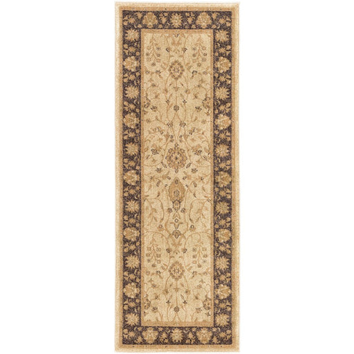 Surya ABS-3038 Arabesque Runner, 2'7' x 7'3', Beige/Black