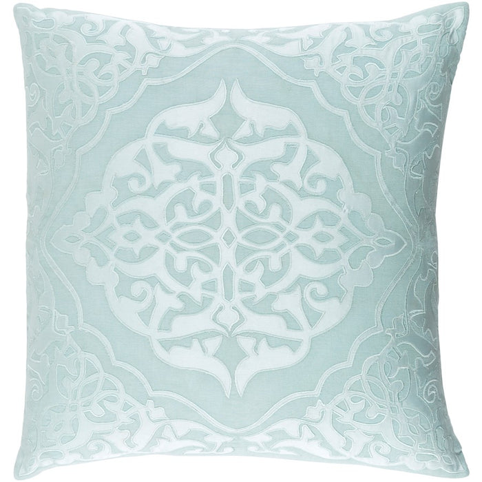 Adelia by Surya Pillow, Mint/Pale Blue